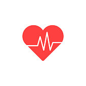 Heart Isometric health care concept red shape and heartbeat. Vector illustration.