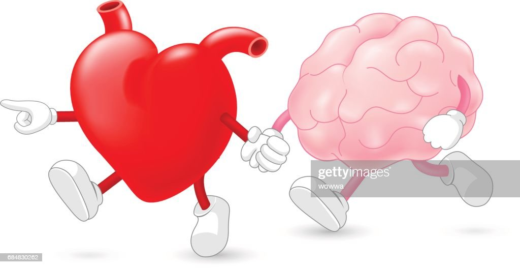 Heart leading brain character. hand in hand and walking together.