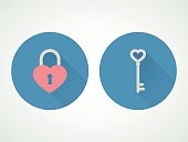 Heart lock and key. Flat design