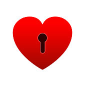 Heart lock icon. Unlock love, heart flat icon for apps and websites – stock vector