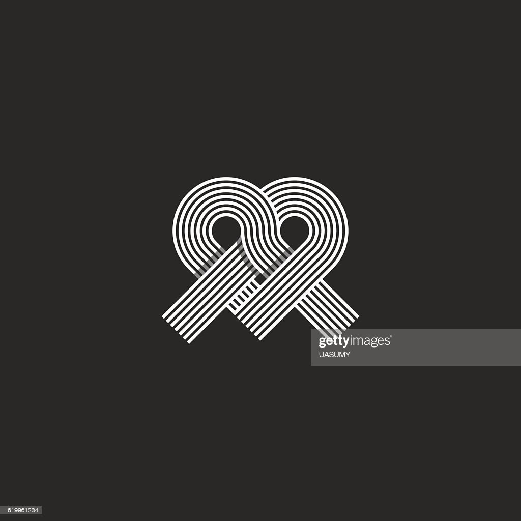 Heart logo monogram shape knot, offset thin line overlapping emblem