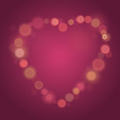 Heart Made from glow spots, Valentines day, bokeh effect. vector