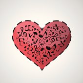Heart made from music notes