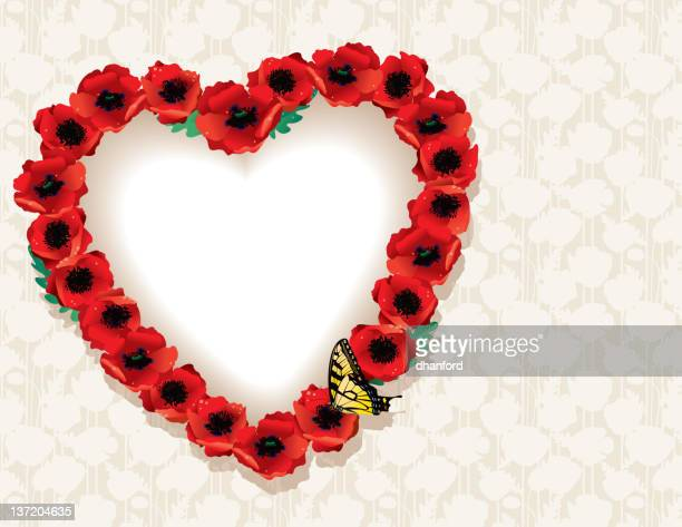 Heart made from Poppies with Yellow Swallowtail Butterfly