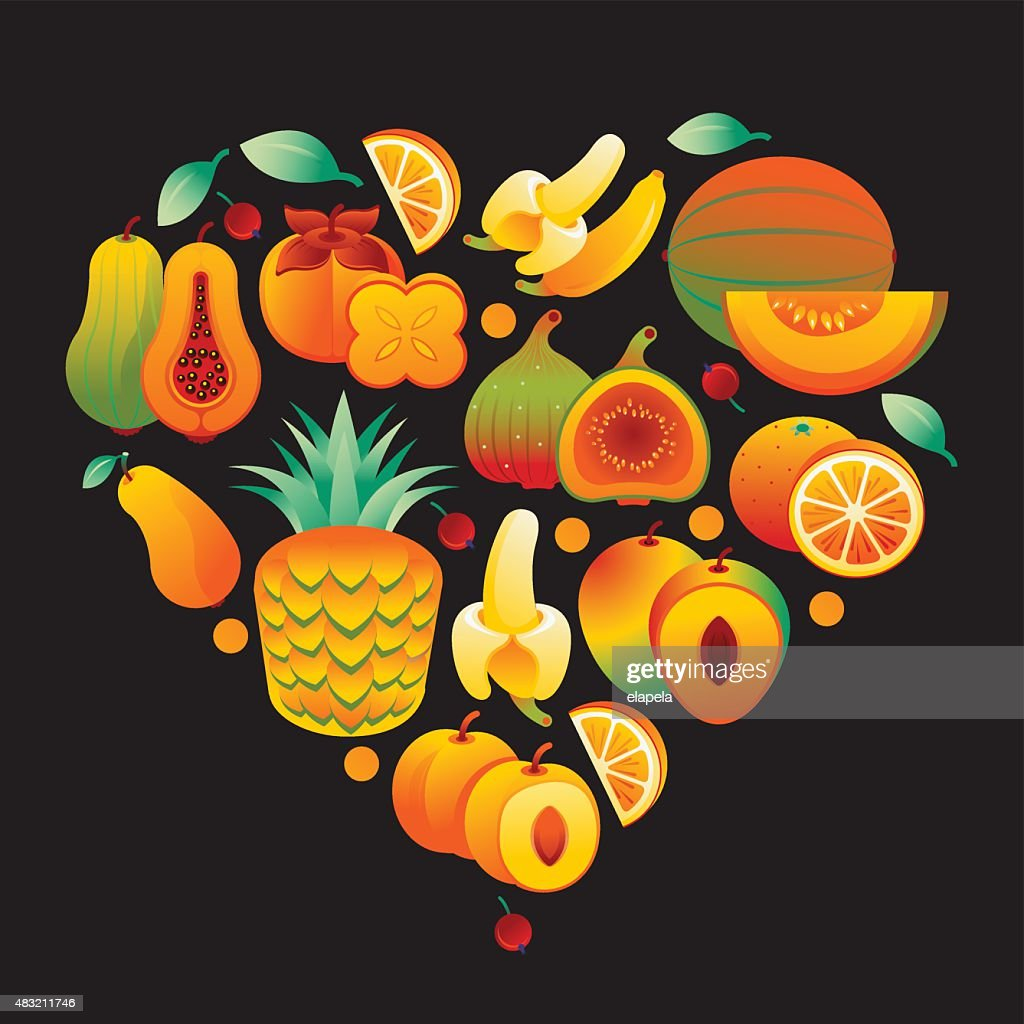 Heart made of orange and yellow fruits