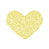 heart made of yellow feathers