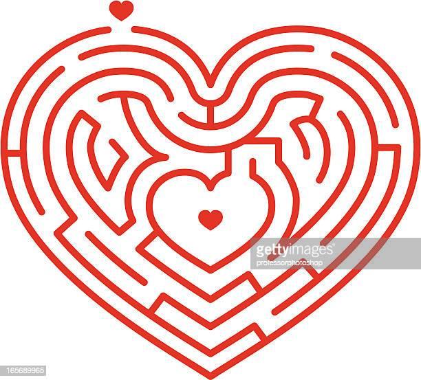 illustrazioni stock, clip art, cartoni animati e icone di tendenza di labirinto di cuore - intrico