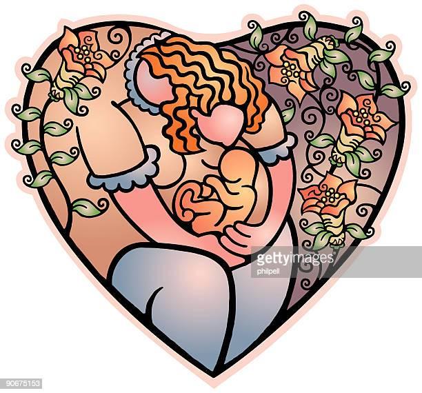 heart - mother (vector) - animal uterus stock illustrations, clip art, cartoons, & icons