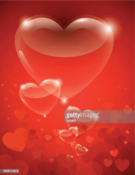ilustraciones, imágenes clip art, dibujos animados e iconos de stock de corazón de san valentín de vidrio - flotando en el aire