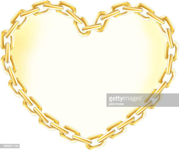 heart of gold chain - gold chain necklace stock illustrations