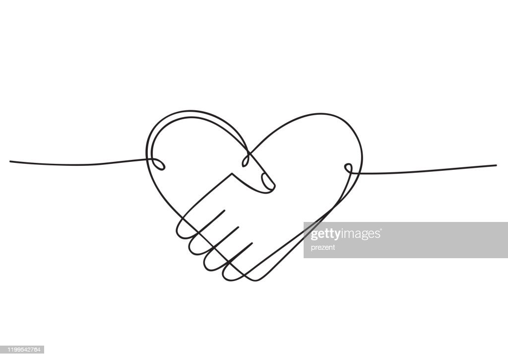 Heart of handshake as friendship and love icon. Continuous line art drawing. Hand drawn doodle vector illustration in a continuous line. Line art decorative design : stock illustration