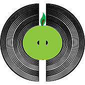 Heart of music, a vinyl record and an apple