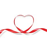 Heart of red ribbon isolated on white background. It can be used for greeting cards, letters, etc.