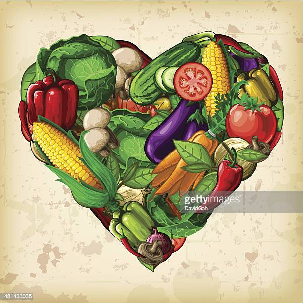 heart of vegetables - pepper vegetable stock illustrations