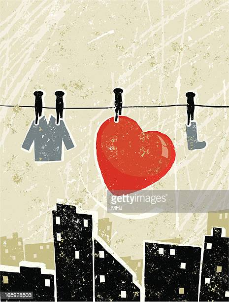 heart on a washing line in the city - silk screen stock illustrations, clip art, cartoons, & icons