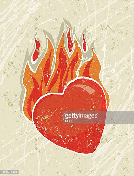 heart on fire - the grass is always greener stock illustrations, clip art, cartoons, & icons