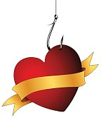 Heart on fishing hook with banner for individual labeling