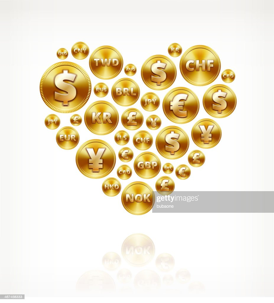 Heart on Gold Coin Buttons