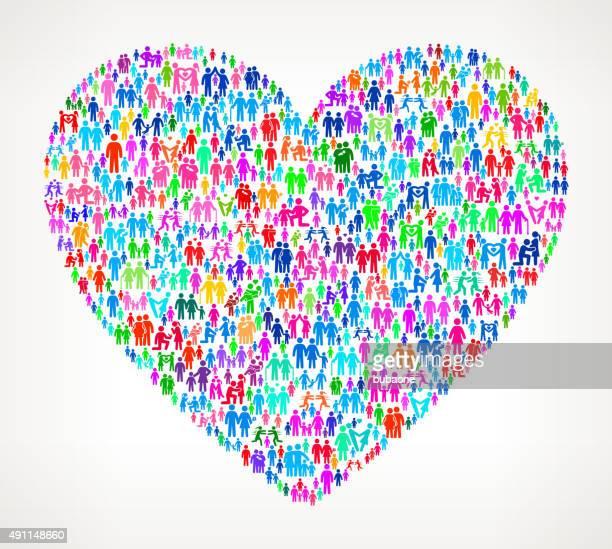 ilustrações de stock, clip art, desenhos animados e ícones de coração no fundo branco vector família padrão - casais de lesbicas