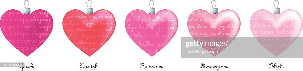 Heart Ornaments With I Love You In Different Languages Vectorkunst