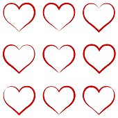 Heart outline red, set, symbol of the friendship and intimacy of Valentines Day love vector calligraphy hand draw the heart, concept of love