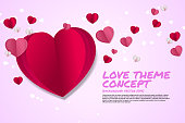 Heart paper art flying graphic background concept.
