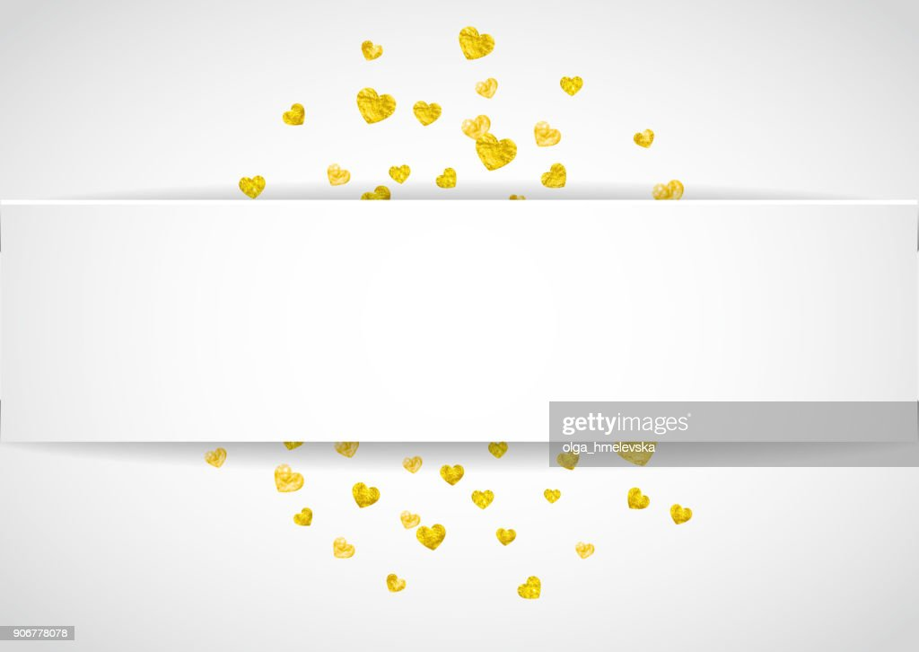 Heart paper label with gold glitter. February 14th day. Vector confetti with heart paper label. Festive white banner with hand drawn texture. Love theme for voucher, special business ad, banne