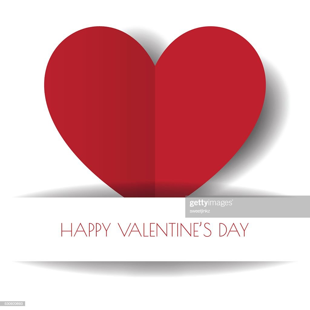 Heart Paper Sticker With Shadow Valentine's day vector illustrat