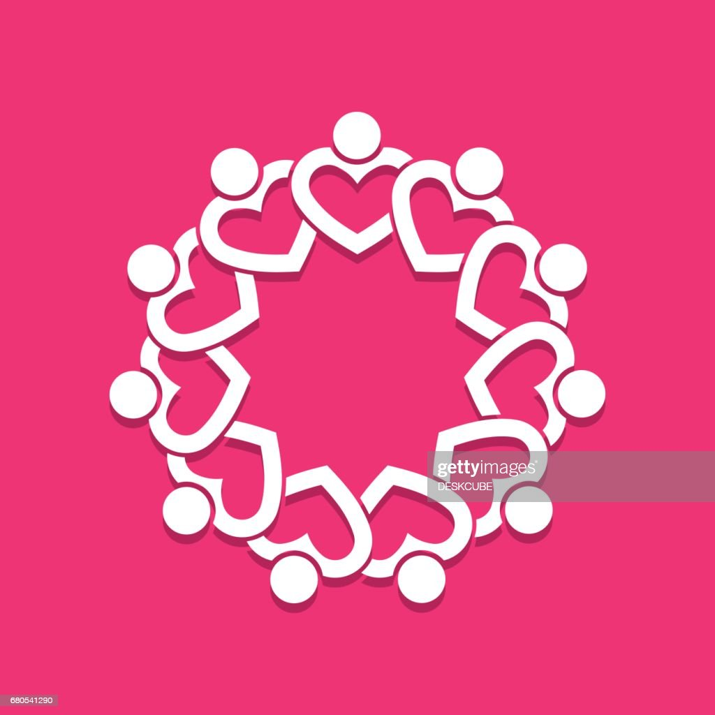 Heart people group in circle. Vector graphic design