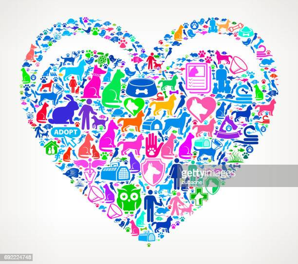 ハートのペットと動物のベクトルのアイコンの背景 - heart shape点のイラスト素材/クリップアート素材/マンガ素材/アイコン素材