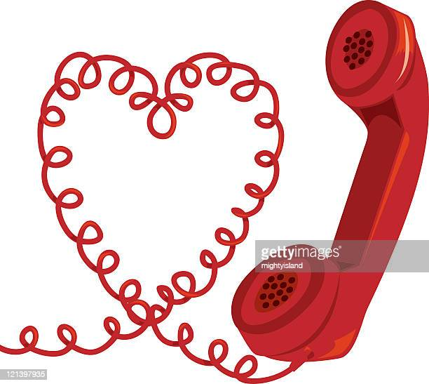 heart phone - phone cord stock illustrations, clip art, cartoons, & icons