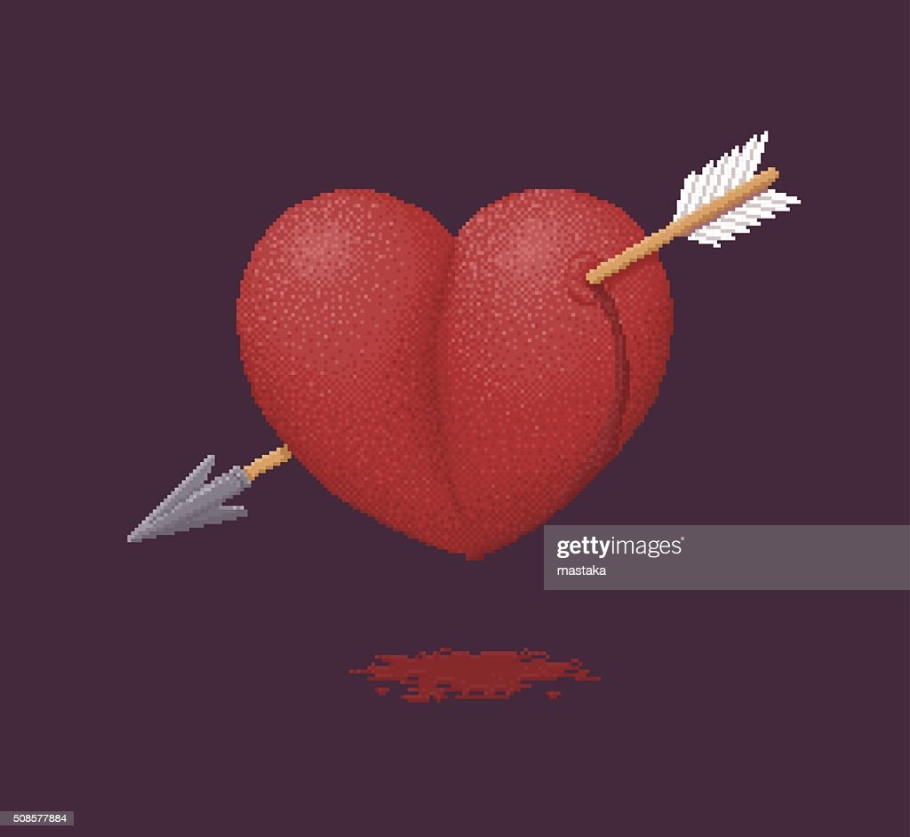 Heart Pierced by an Arrow - Pixel Art Illustration : Vector Art