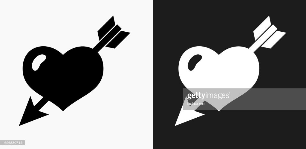 Heart Pierced With Arrow Icon on Black and White Vector Backgrounds
