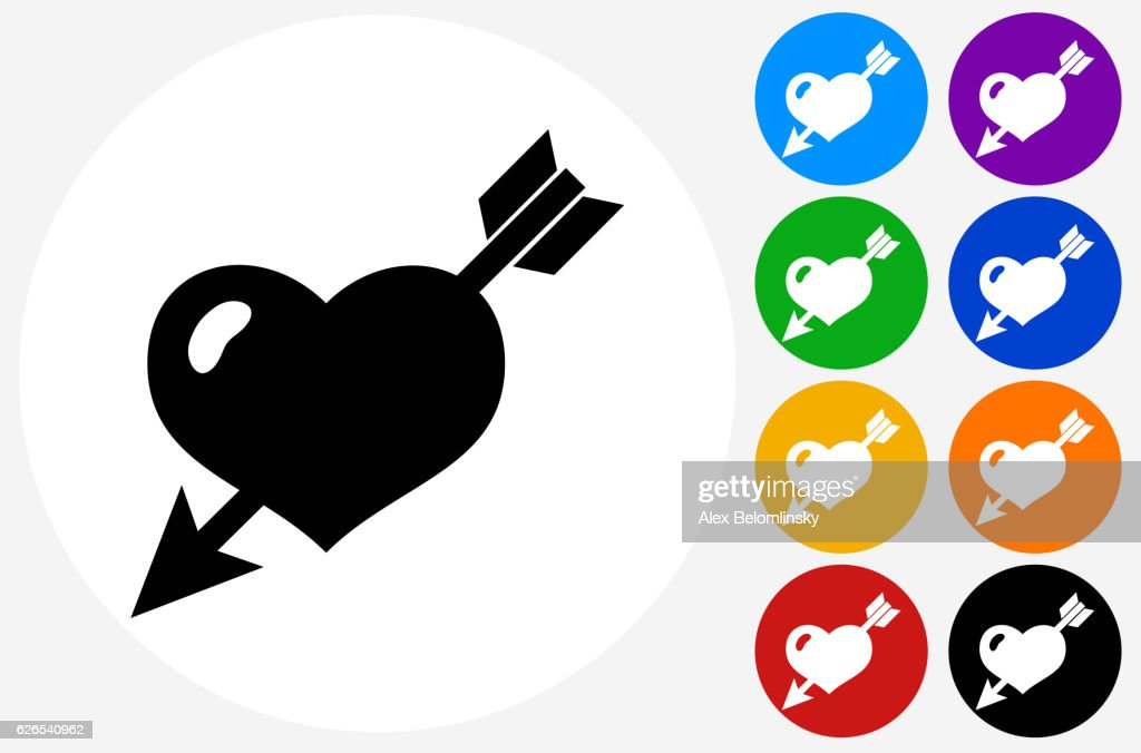 Heart Pierced With Arrow Icon on Flat Color Circle Buttons