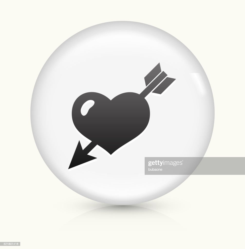 Heart Pierced With Arrow icon on white round vector button