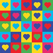 Heart pop art pattern