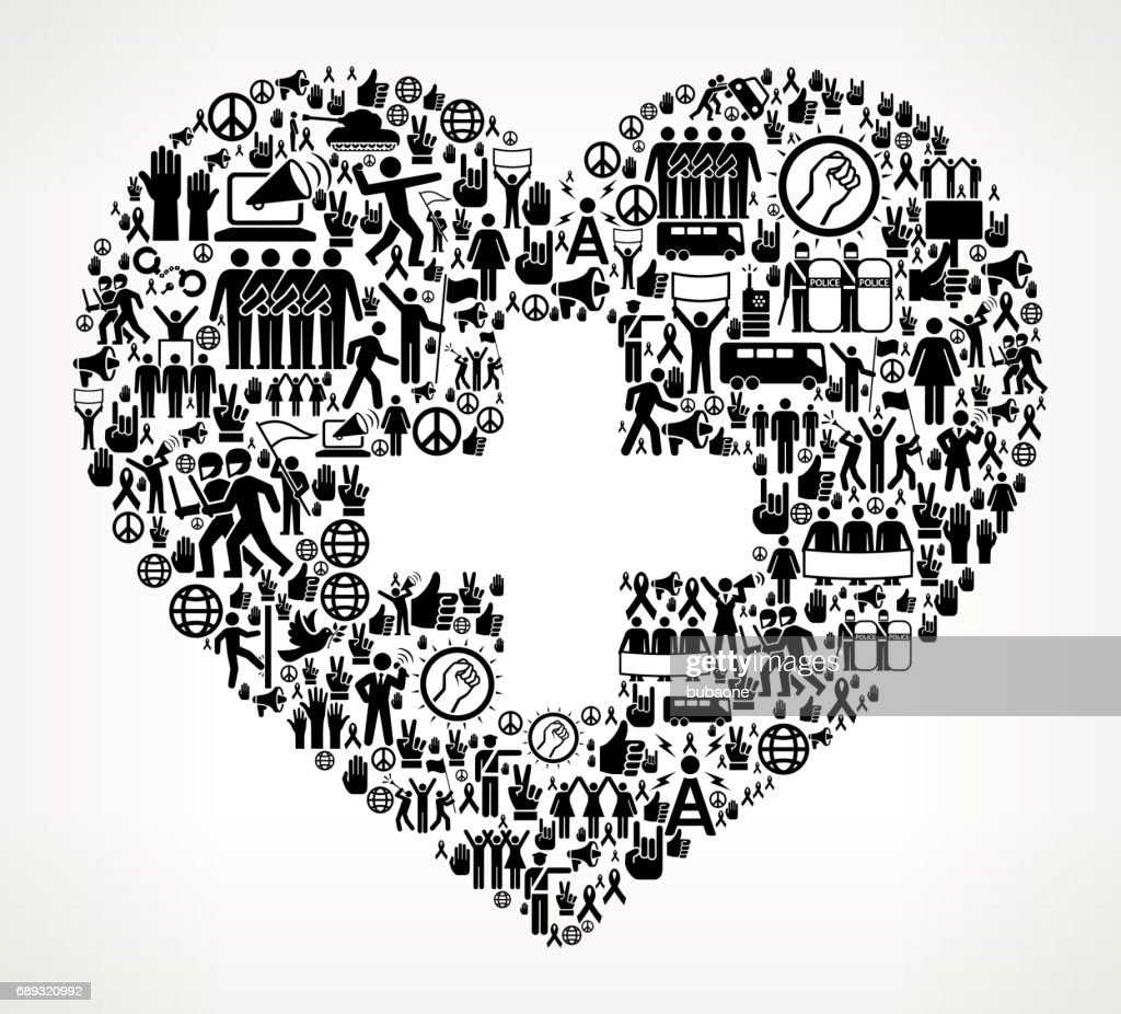 Heart  Protest and Civil Rights Vector Icon Background : Stock Illustration