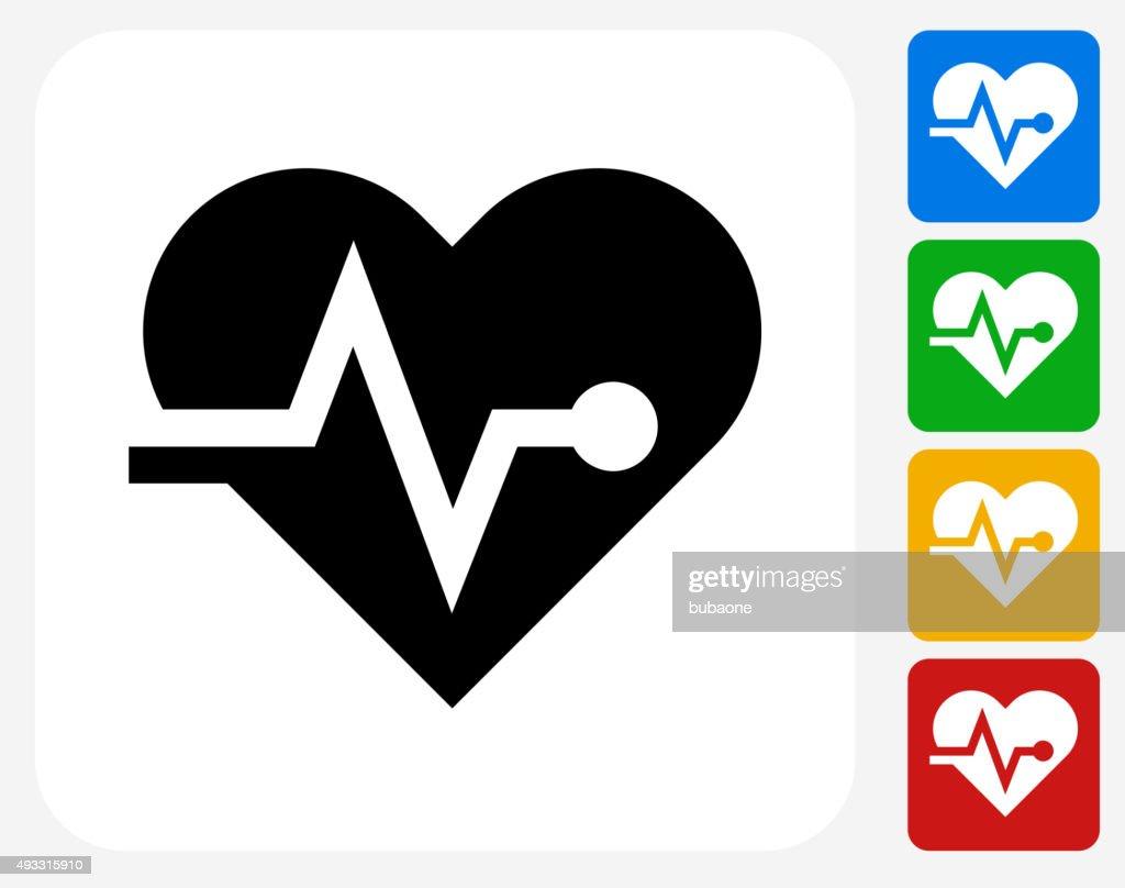 Corazón pulso de iconos planos de diseño gráfico : Ilustración de stock