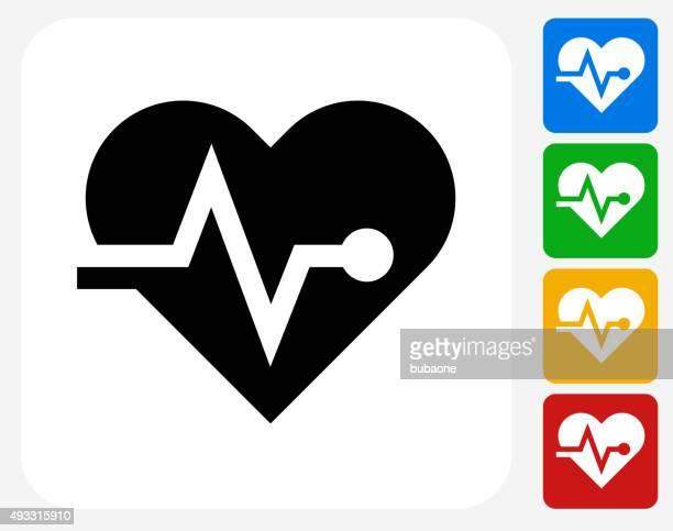ilustraciones, imágenes clip art, dibujos animados e iconos de stock de corazón pulso de iconos planos de diseño gráfico - cardiólogo