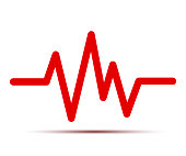 Heart pulse, one line, cardiogram, heartbeat - for stock vector