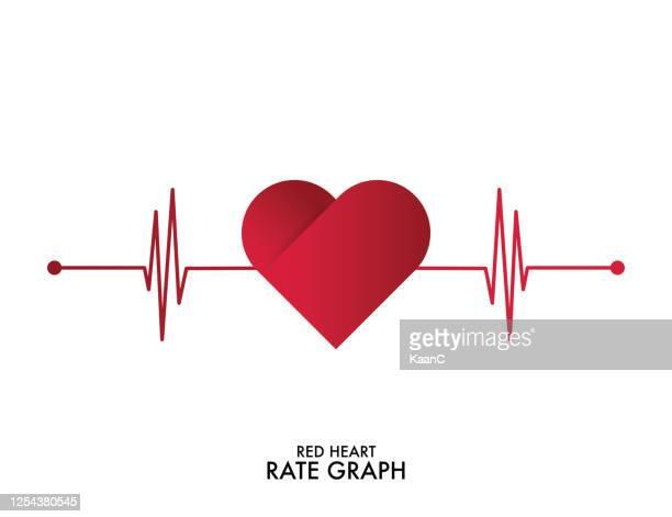 illustrazioni stock, clip art, cartoni animati e icone di tendenza di battito cardiaco. colori rosso e bianco. battito cardiaco solitario, cardiogramma. illustrazione vettoriale in stile piatto. illustrazione di repertorio - frequenza