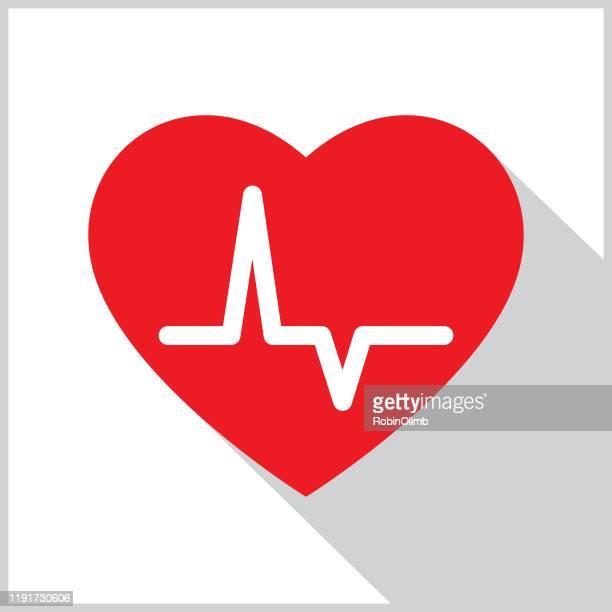 heart pulse shadow icon - heart disease stock illustrations