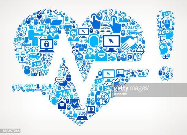herz puls tech support symbol vektormuster - piktogramm collage stock-grafiken, -clipart, -cartoons und -symbole