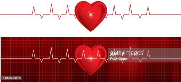 heart pulse trace monitors - listening to heartbeat stock illustrations, clip art, cartoons, & icons