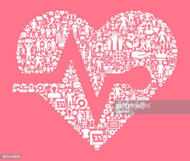 heart pulse  women's rights and ,  icon pattern - equal opportunity stock illustrations, clip art, cartoons, & icons