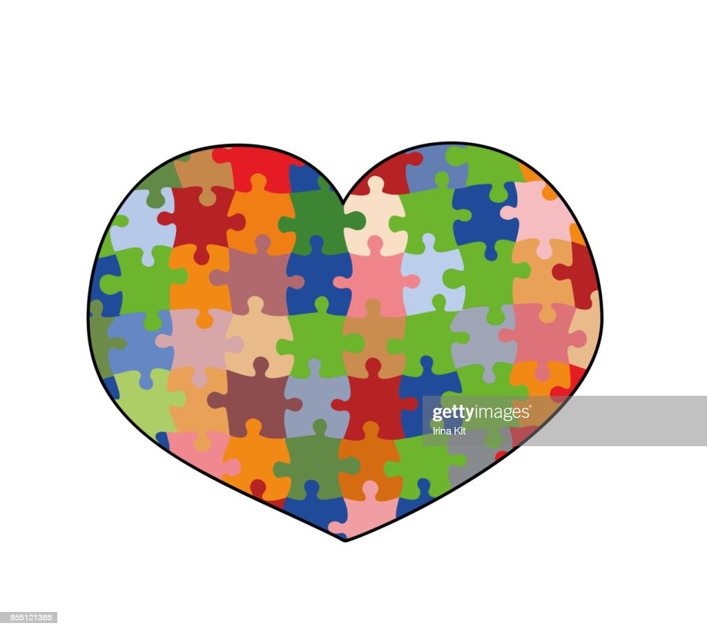 Heart Puzzle Isolated On White Background A Symbol Of Autism Vector