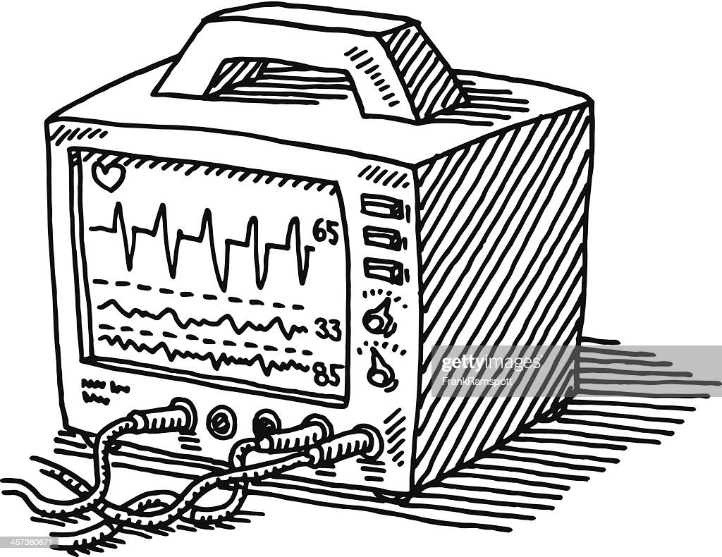 heart rate monitor drawing vektorgrafik