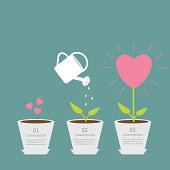 Heart seed, watering can, love plant. Growth. Flat design infographic.
