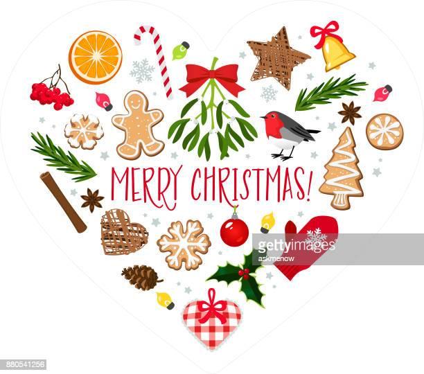 ilustraciones, imágenes clip art, dibujos animados e iconos de stock de en forma de corazón decoración de navidad - galletas navidad