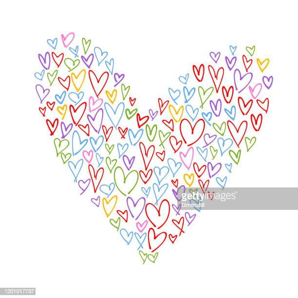 heart shape collage made from multi colored handdrawn hearts - admiration stock illustrations